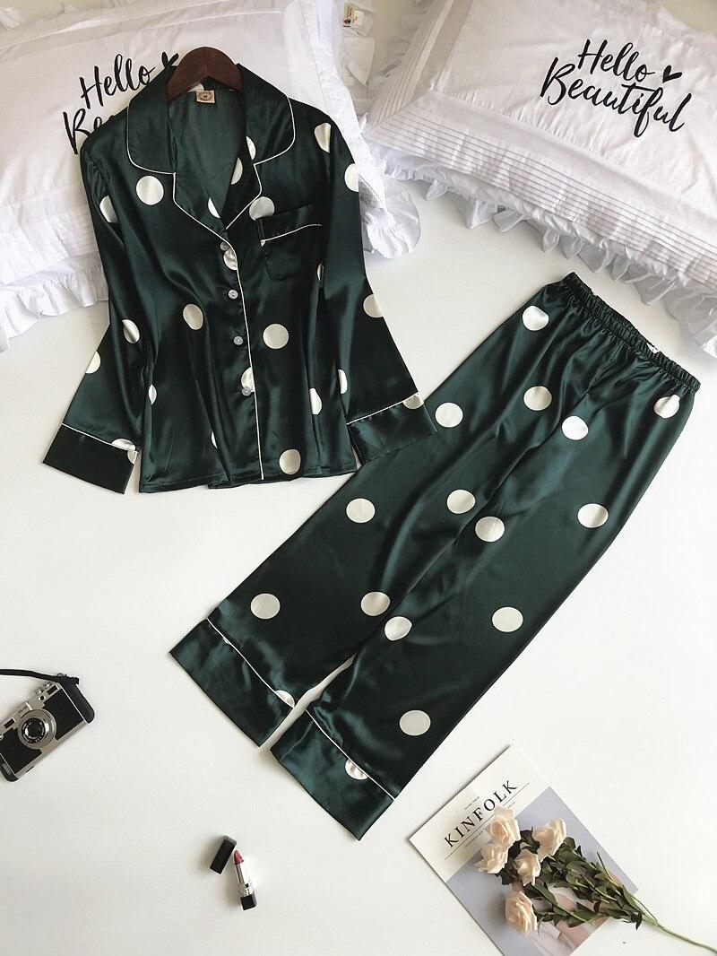 MECHCITIZ silk pajamas set women long sleeve coat pants two pieces sleepwear  women autumn spring fashion pijamas sets nightwear-in Pajama Sets from ... 4528d457e