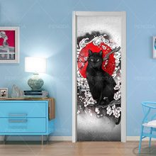Prints Picture Creative Door Decor Stickers Self Adhesive Horse Cat Animals Bedroom Waterproof 3D Mural Renovation Funny Decals(China)