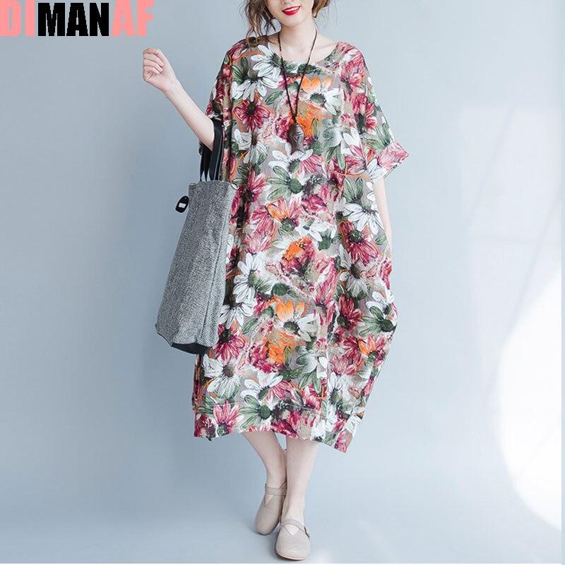 DIMANAF Plus Size Women Summer Dress Sunflower Floral Print Trend Linen Large Size Female Casual Fashion Long Vintage Dresses