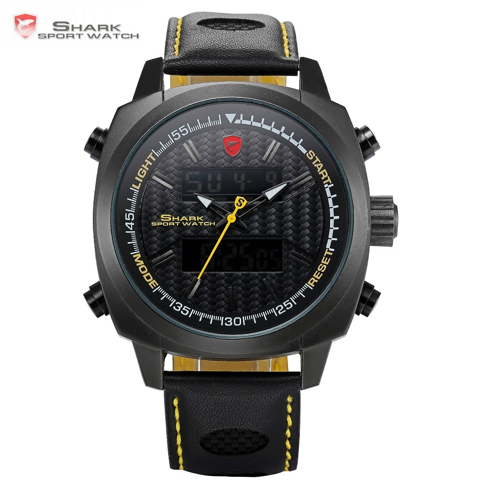 Silvertip Shark Sport Watches Brand Full Black Digital Backlight Date Alarm Chronograph Quartz Leather Strap Mens Watches /SH494 шейкер sport elite sh 300 850ml black