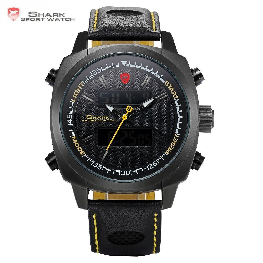 Silvertip Shark Sport Watches Brand Full Black Digital Backlight Date Alarm Chronograph Quartz Leather Strap Mens Watches /SH494