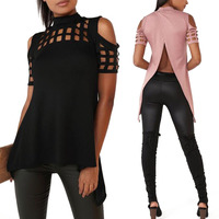 AuraPicco Women Casual Cold Shoulder Hollow Out Mock Neck Short Sleeve T Shirts Fashion Off The