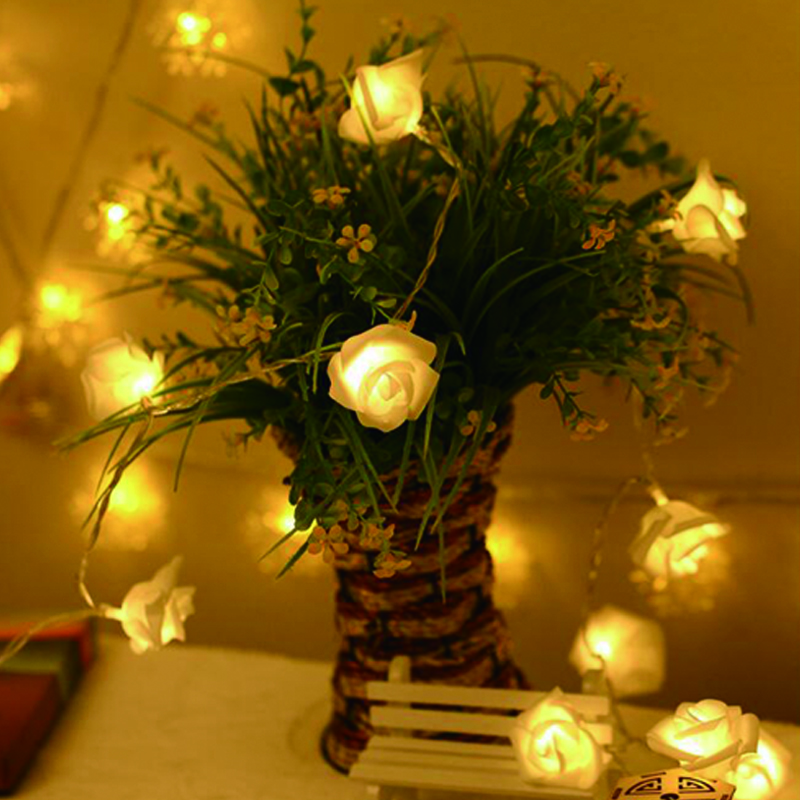 Home & Garden Wedding Decoration Battery Operated Led Rose Flower Christmas Holiday String Lights For Valentine Wedding Party Garland Decor Event & Party