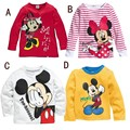 Retail Kids Children's cartoon long-sleeved T-shirt boys and girls baby t-shirts Minnie stripe free shipping