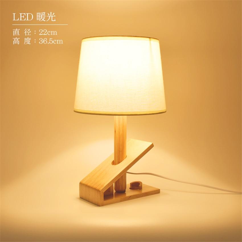 Modern designer Art Loft Wood Table Lamp E27 Lamp Holder 110 240V Cloth Art Wood Desk Table Lamp Parlor Indoor Study Night Light in LED Table Lamps from Lights Lighting