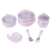Durable Cute Cartoon Children S Tableware Set With Suction Cup For Baby Kids New