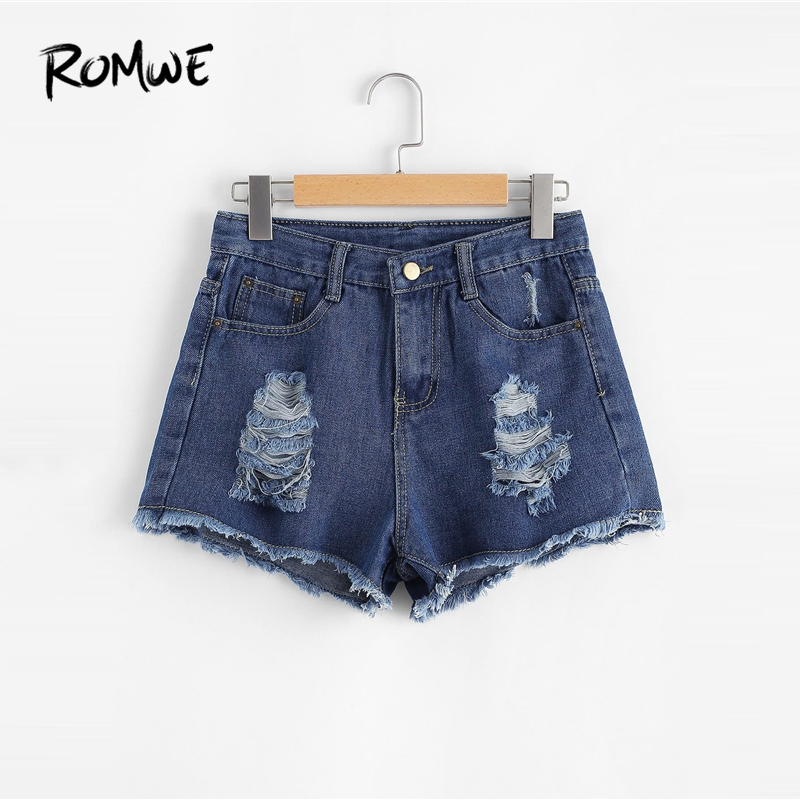 9cdc19813be ROMWE Frayed Edge Ripped Denim Shorts Rock Blue Mid Waist Button Fly Shorts  2019 New Design Summer Women Plain Loose Shorts