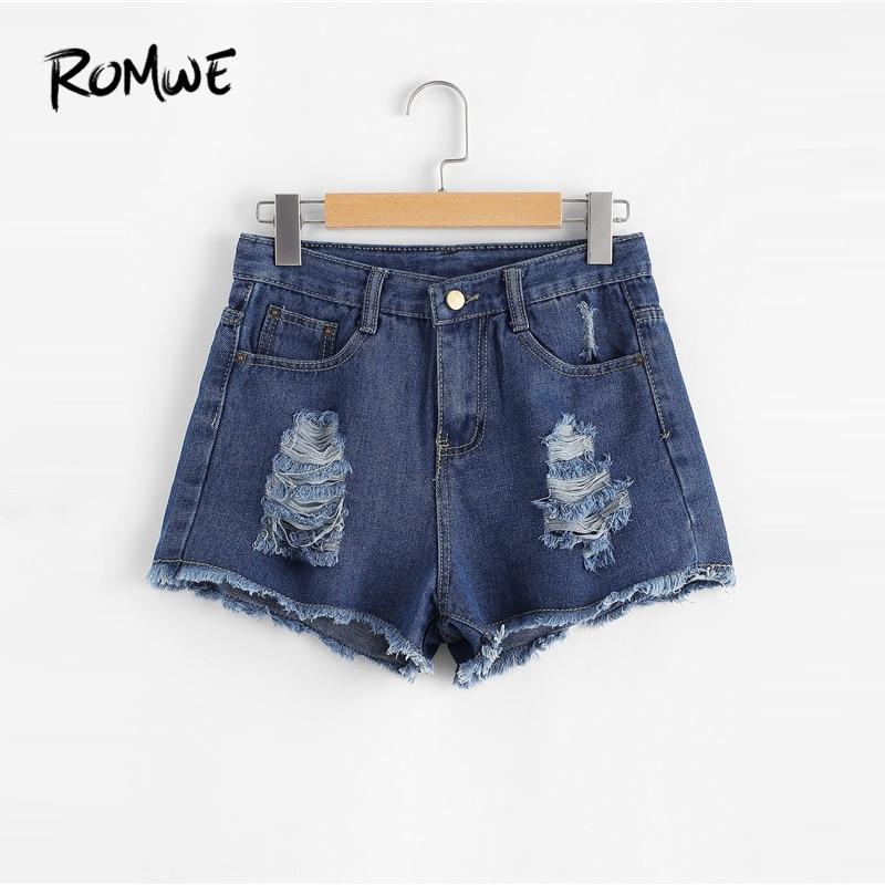 ROMWE Frayed Edge Ripped Denim   Shorts   Rock Blue Mid Waist Button Fly   Shorts   2019 New Design Summer Women Plain Loose   Shorts