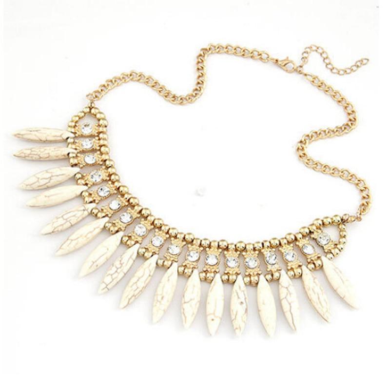 2016 Mode Frauen Imitation Kristall Anhänger Kette Chunky Erklärung Lätzchen Halskette Boho
