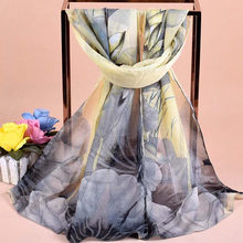 Floral Hijab Scarves Chiffon Accessories Silk Shawl flowers Prting Brand Scarf From India Beauty cachecol 2018 Fashion Women ne(China)
