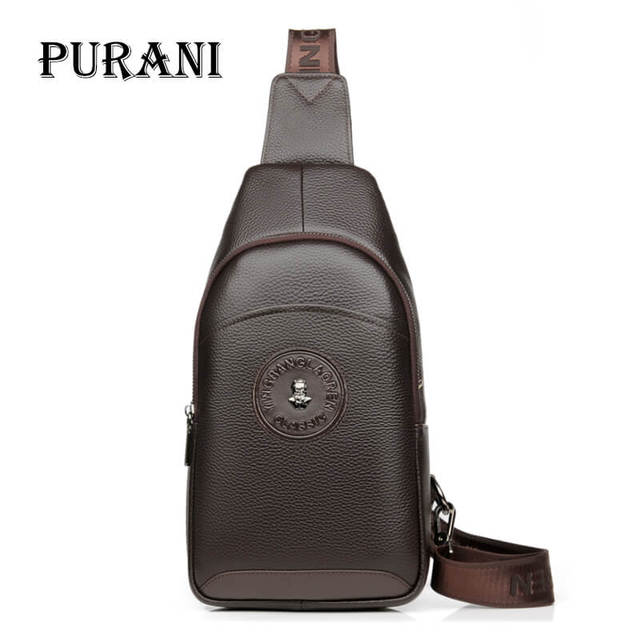 473e6f38517a PURANI Male Cowhide Leather Crossbody Bag Men Shoulder Bags High Quality  Casual Chest Pack Genuine Leather Men Messenger Bag NEW