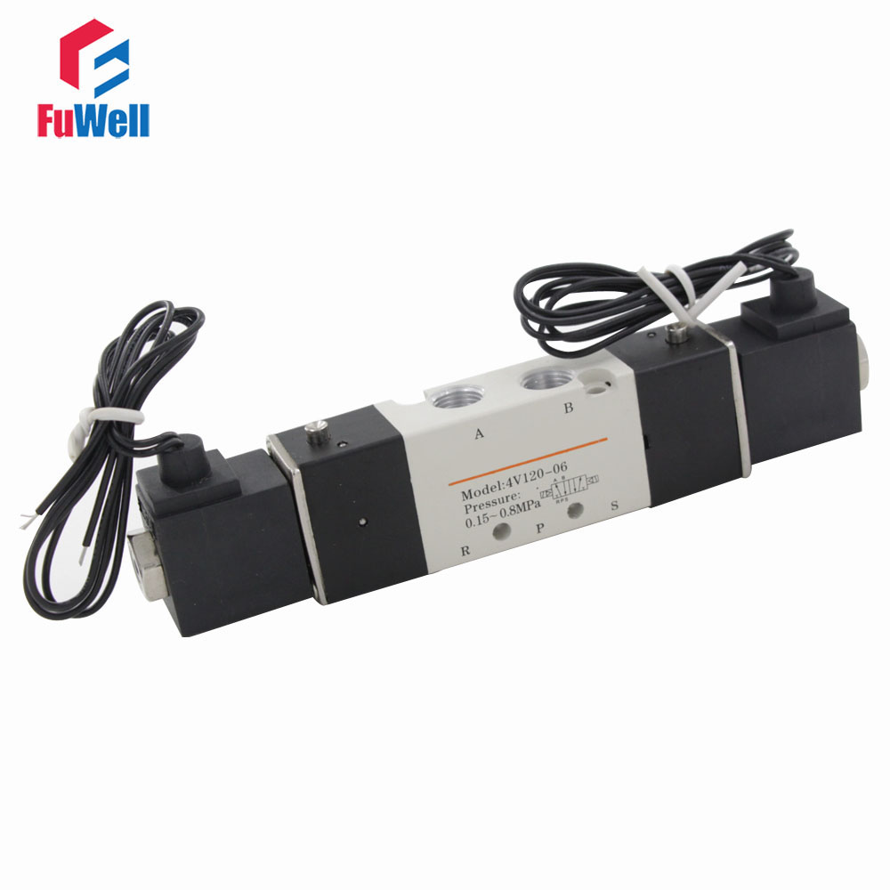 4V120-06 Solenoid Valve DC 24V 5 Port 2 Position PT1/8 Connector Solenoid Air Control Valve Aluminum Alloy Pneumatic Valve wifi gas boiler heating thermostat black ac220v wifi temperature regulator for boilers weekly programmable