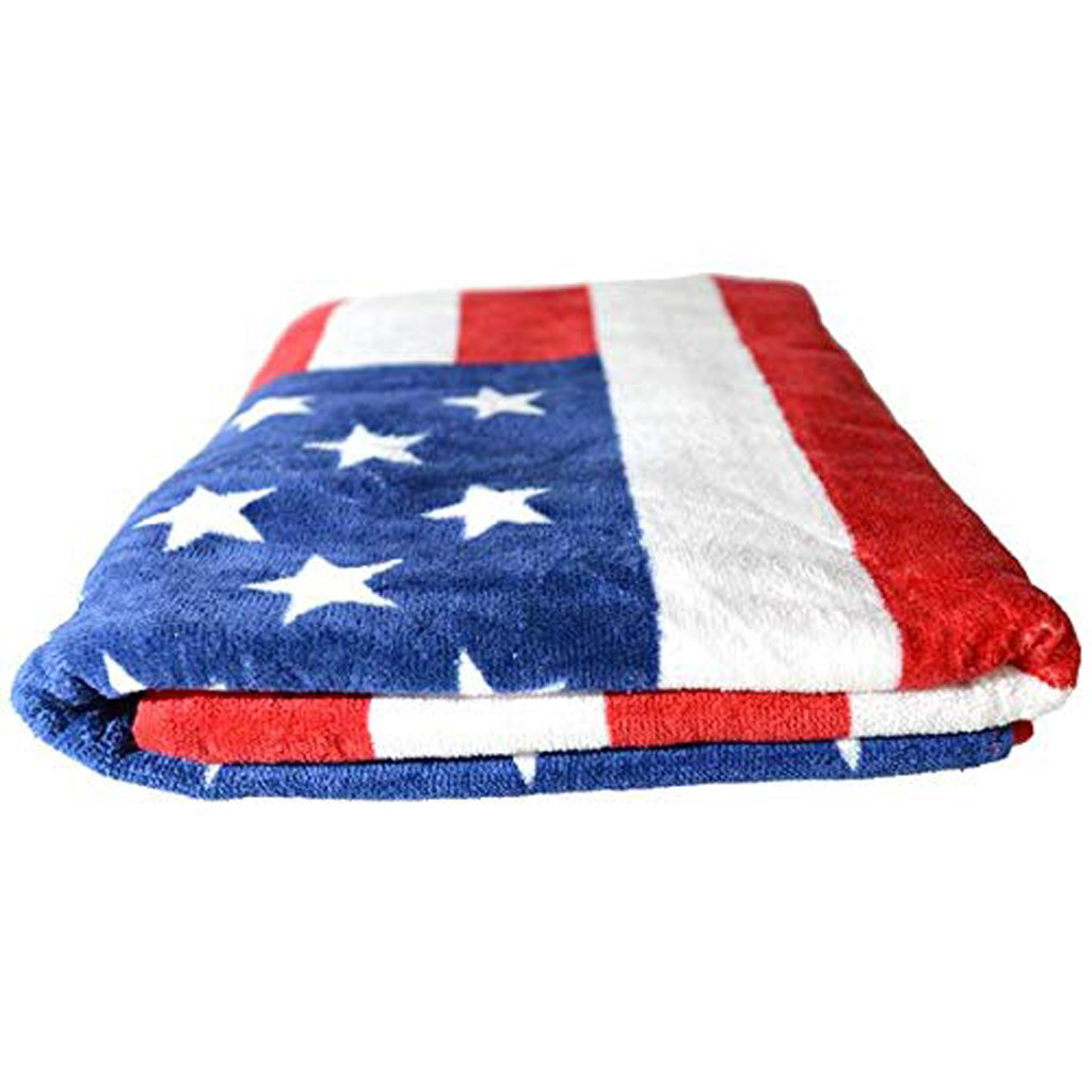 Bath Towel Independence Day American Flag Beach Towel 100% Cotton Plush d90606