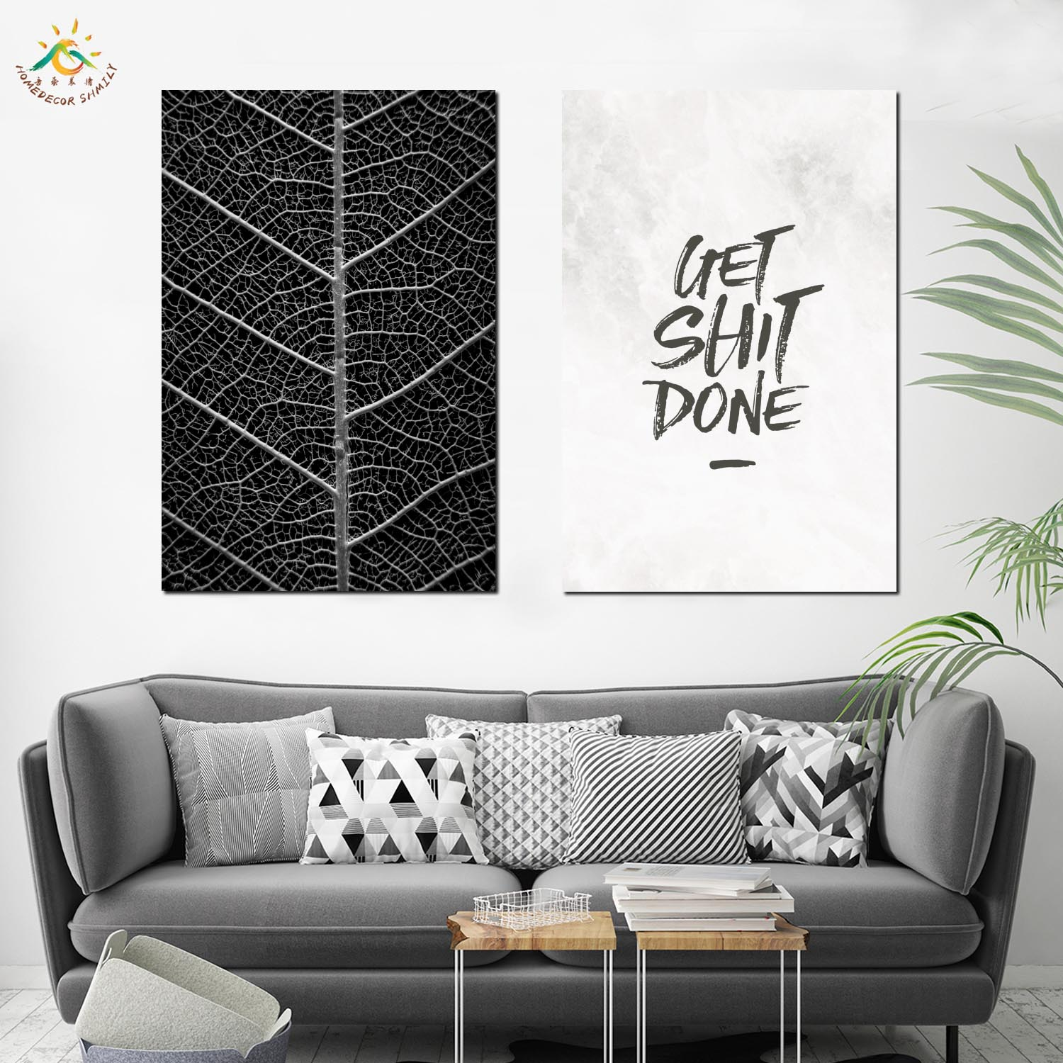 Nordic Poster Decoration Black Leaves Wall Art Canvas Poster and Print Canvas Scroll Painting Decorative Picture for Home Decor in Painting Calligraphy from Home Garden