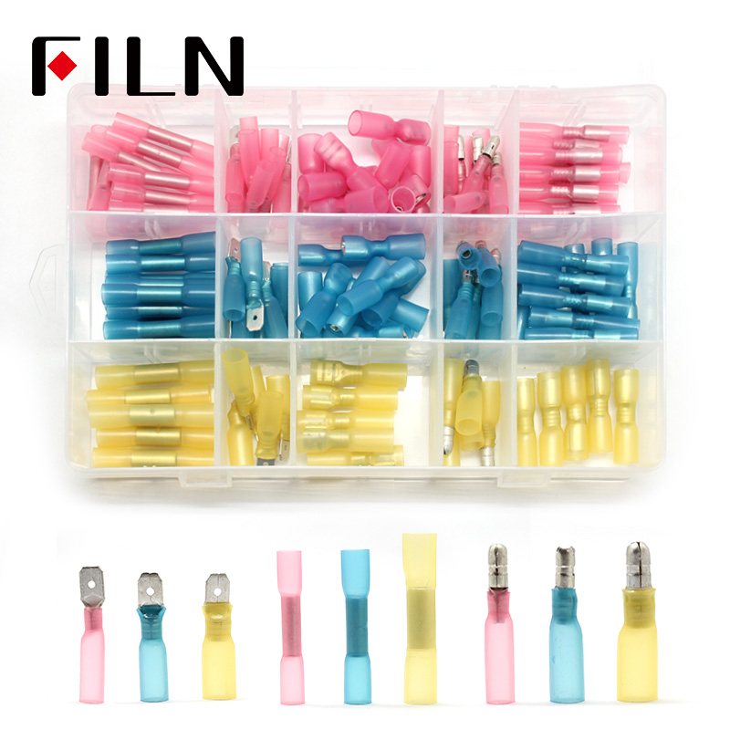 120pcs Electrical Wire Crimp Terminals Assorted Insulated Cable Connectors Kit Set 22-10AWG with Box image