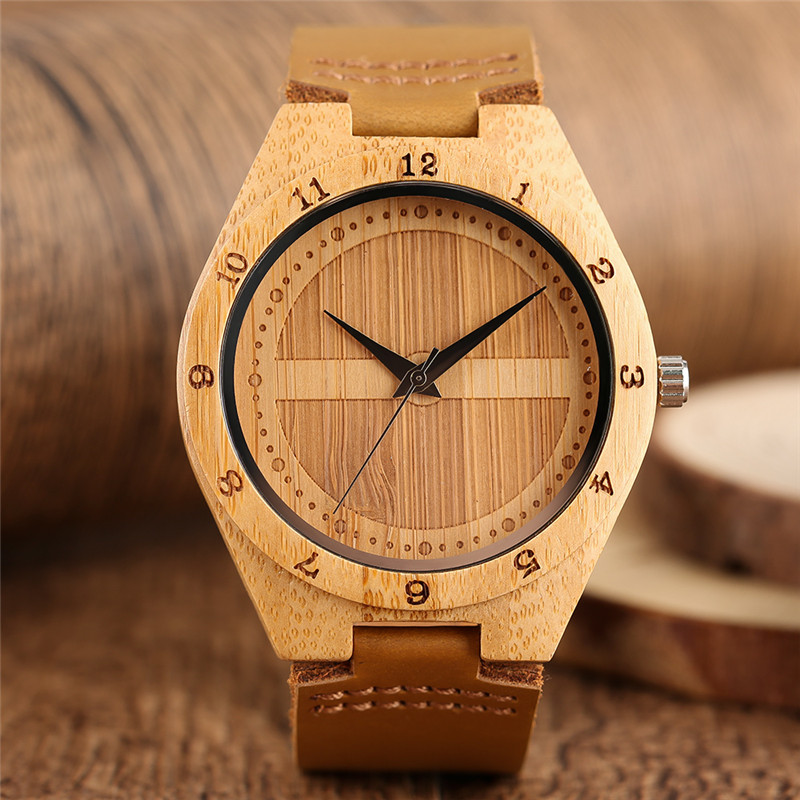 Modern Bamboo Wrist Watch Men Handmade Bangle Simple Fashion Quartz Watches Leather Strap Luxury Nature Wooden Clock Unisex 5piece 100% new max1870ae qfn chipset