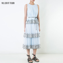 2019 HIGH QUALITY New Fashion Spring summer Suit Set Womens Lace Gauze Patchwork Pleated Tank Top Skirt two piece set