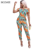 Off Shoulder Floral Print Rompers Womens Jumpsuit Backless Slash Neck Bodycon Bodysuit Summer Retro African Style Boho Vintage