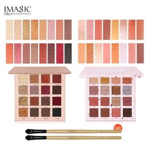 Image 4 - Imagicファッションアイシャドウパレット16色マットアイシャドウパレット持続メイクヌードメイクセット化粧ブラシを送信