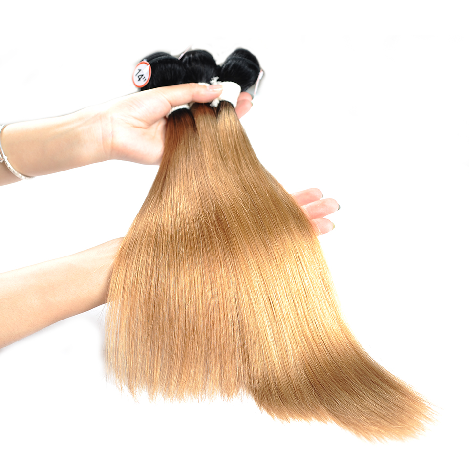 3/4 Bundles With Closure T1b 27 Honey Blonde Ombre 3 Brazilian Straight Hair Bundles With Closure Human Hair Weave With Closure Shiningstar Non Remy Hair Human Hair Weaves