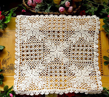 2PCS /LOT Handmade Crochet Flower hollow Cotton mat 40CM Insulation pad Coffee Table cloth Sofa towel Beige / White(China)