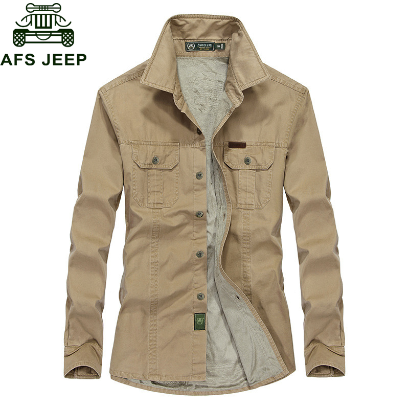 AFS JEEP 2018 Plus Size 5XL <font><b>6XL</b></font> Autumn Winter Thick Fleece Shirt Men Causal Cotton Long Sleeve Mens Shirts <font><b>Camisetas</b></font> <font><b>Hombre</b></font> image