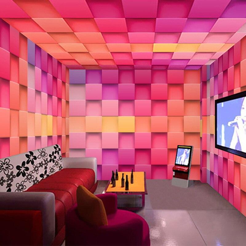 Custom Mural 3D Non woven Colorful Plaid Brick Wallpaper Bar Hotel ...