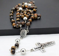 fashion new tiger eye semi-pricious stainless steel cross rosary necklaces men and women jewelry top quality free shipping