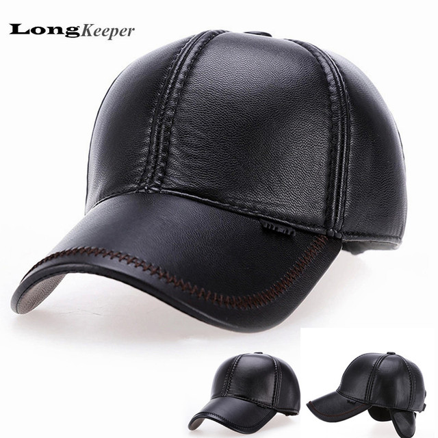 LongKeeper Leather Hats Winter Mens Baseball Cap Men's Warm Earmuffs Earflap Gorras Bone Black Brown Gorras High Quality AA10