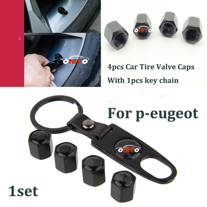 1Set Leather Metal car Wheel Valve Stem Cap Car Wheel Tire Valve Bolt Nut with key chain For peugeot 205 206 207 208 3008