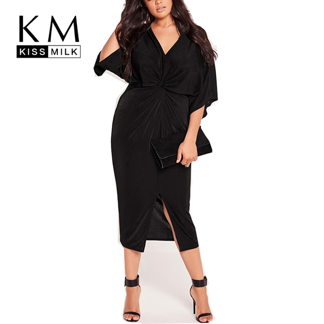 Kissmilk Plus Size Mulheres Moda de Nova Big Tamanho Grande Hem fenda Meia Manga Ruched Vestido Preto Sólido Magro Sexy Com Decote Em V vestido
