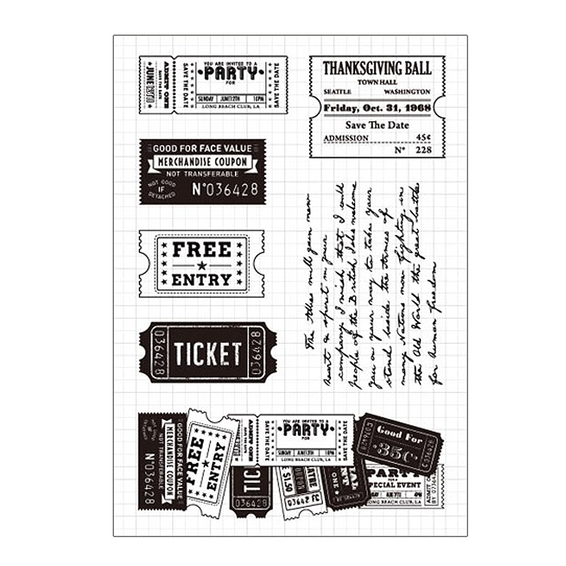 Train Ticket Free Entry Clear Stamps Scrapbooking DIY Silicone Seals Photo Album Embossing Folder Paper Maker Template Crafts