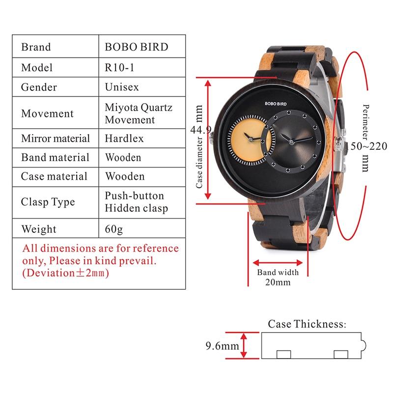 relogio masculino BOBO BIRD Watch Men 2 Time Zone Wooden Quartz Watches Women Design Men's Gift Wristwatches In Wooden Box W-R10 1