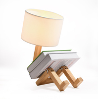 LED on table Wood table lamp For Bedroom Bedside Living room Wood table lamp With shade college dorm home deco Wood table lamp
