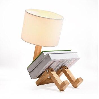 Led テーブル木製テーブルランプ寝室のベッドサイド用リビングルーム木製テーブルランプシェード大学の寮のホームデコ木製テーブルランプ