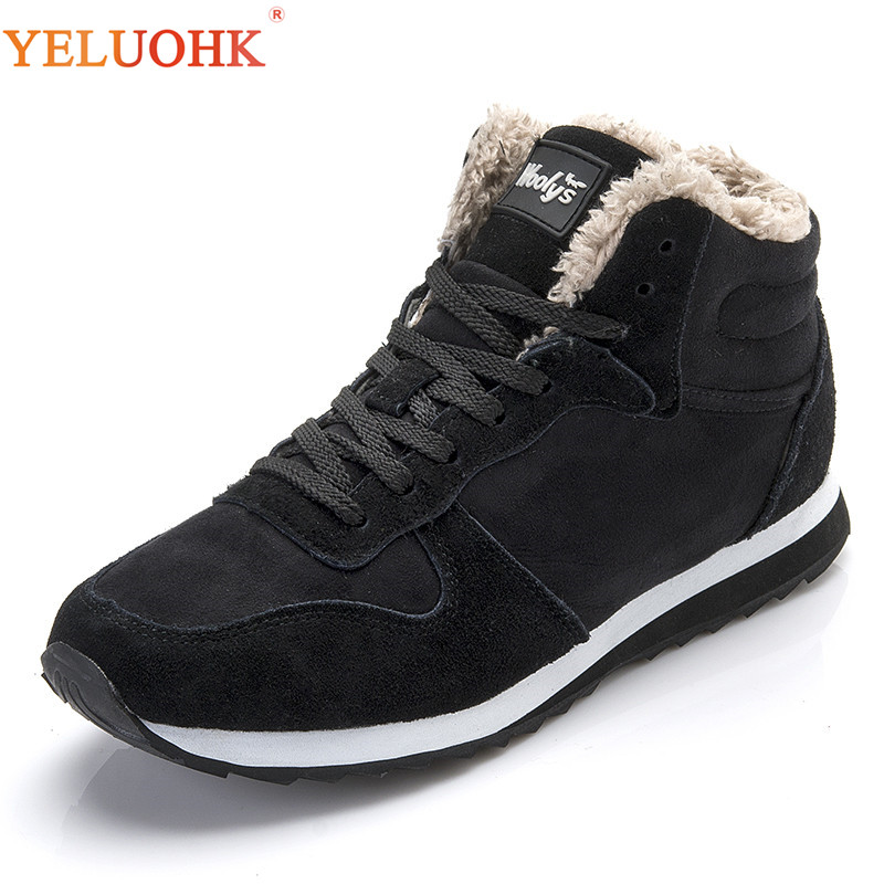 38 48 Men Boots Plus Size Winter Shoes Men Plush Warm Winter Boots Men Black Blue