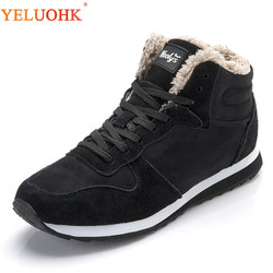 38-48 Men Boots Plus Size Winter Shoes Men Plush Warm Winter Boots Men Black Blue