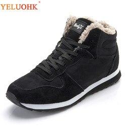 38-48 Men Boots Plus Size Winter Shoes Men Plush Warm Winter Boots Men Black Blue