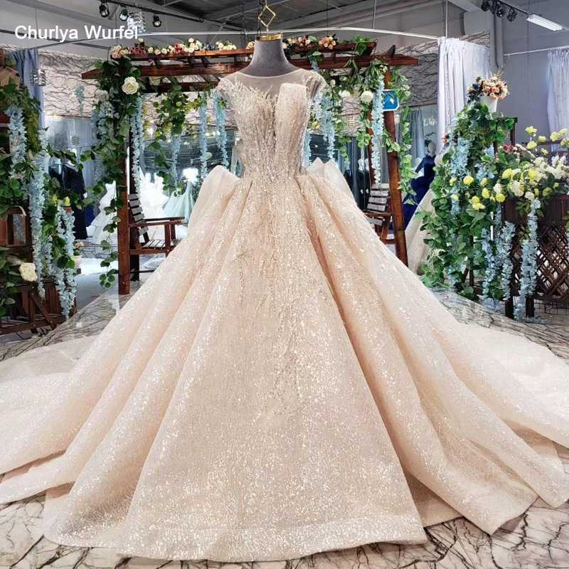 HTL554 ball gown wedding dresses 2019 sleeveless o-neck lace up button illusion back dress bride gown robe de mariee princesse