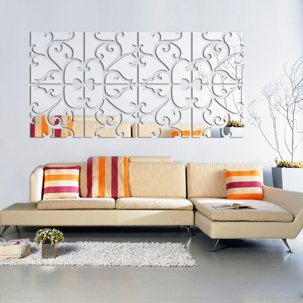 1Pcs 30*120Cm 3D Mirror Wall Stickers Acrylic Sticker Home Decor Modern  Large Decoration Poster