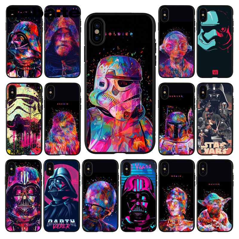 Babaite Star Wars watercolor Pattern TPU Soft Phone Accessories Phone Case for iPhone X XS MAX 6 6s 7 7plus 8 8Plus 5 5S SE XR
