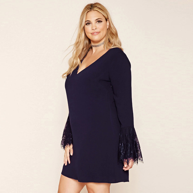 Plus Size V Neck Elegant Street Wear Dress
