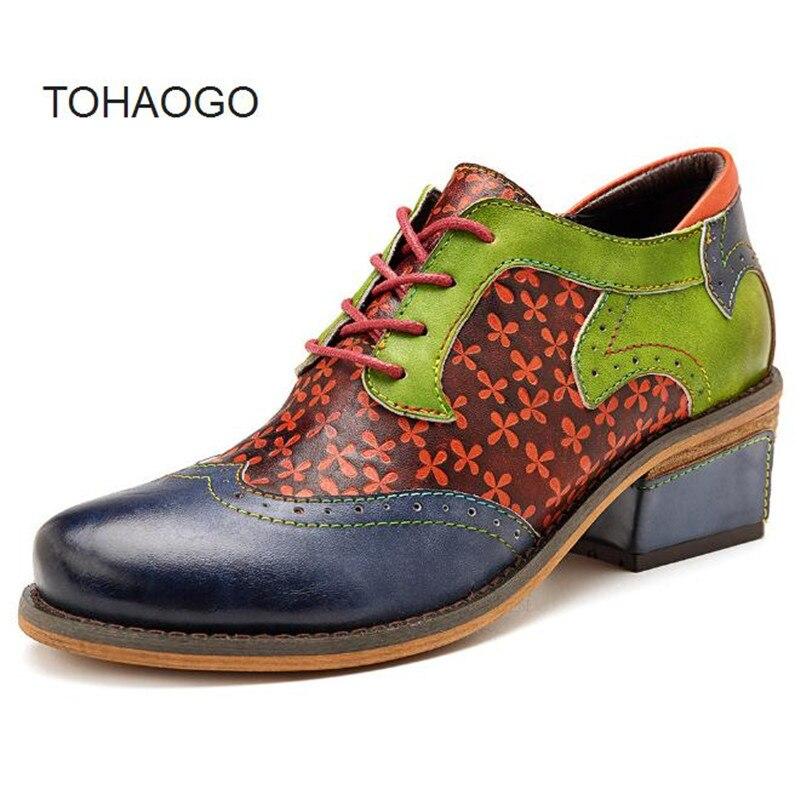 Zapatos Tallados Para Brown Cuero De Nuevos Tacón Oxford Primavera Español Moda Informales Costura Medio Mujer Cómodos Crudo Estilo FfpqZFr