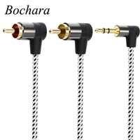 Bochara pleciony 90 stopni 3.5mm jack do 2RCA kabel Audio owinięty ekranowany do głośników wzmacniacz mikser 1.8m 3m 5m 10m