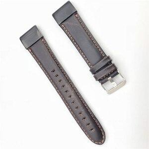 Image 5 - 22mm 26mm אמיתי עור מהיר שחרור קל Fit צפה בנד עבור Garmin Fenix 6X 5X Fenix5 6 fenix 3 ארוג רצועת ספורט 11.20