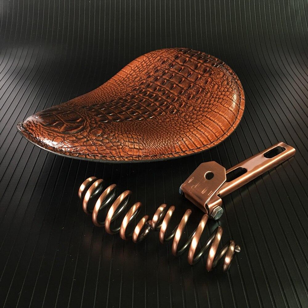 Siège Solo en cuir de Crocodile marron/noir rétro de moto + support de ressort de 3