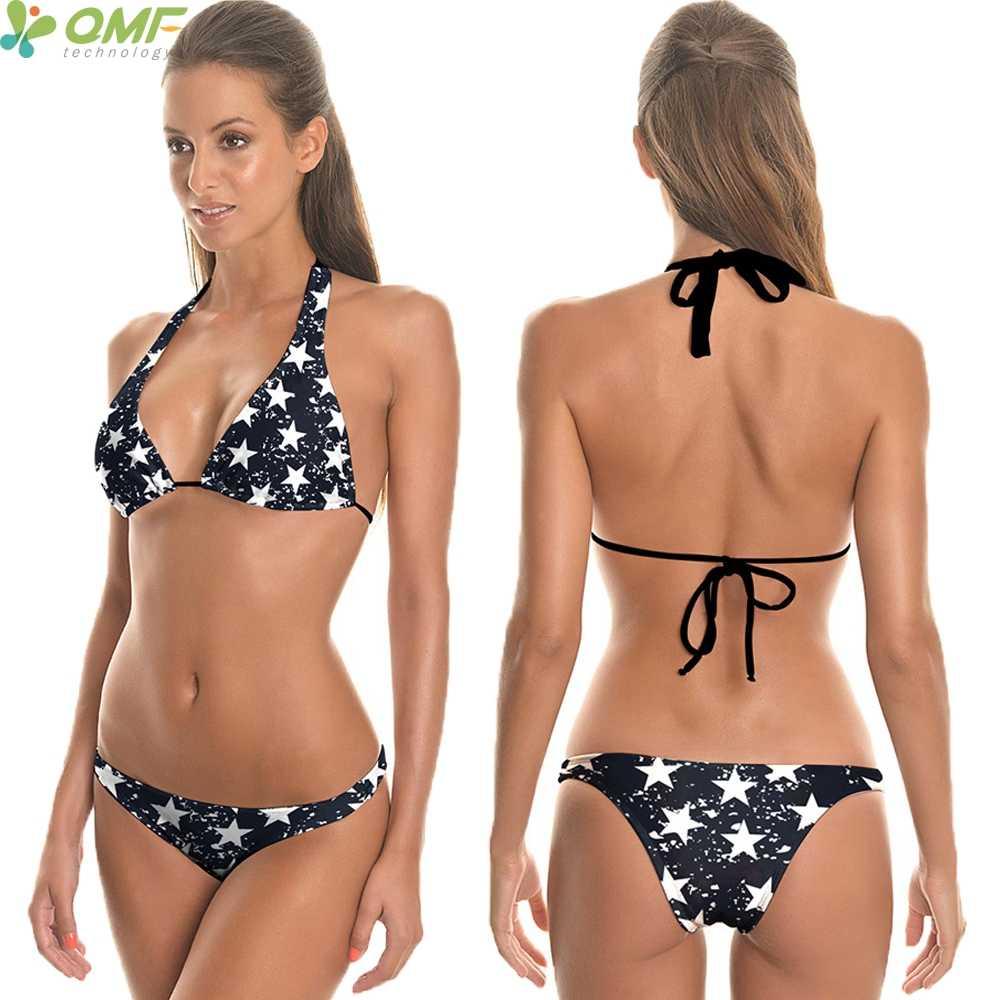 899f4b1b95 Black White Stars Triangle Bikini Set Brazilian Swim Briefs Swimwear  Harajuku Spots Stars Swimsuits Women Thong