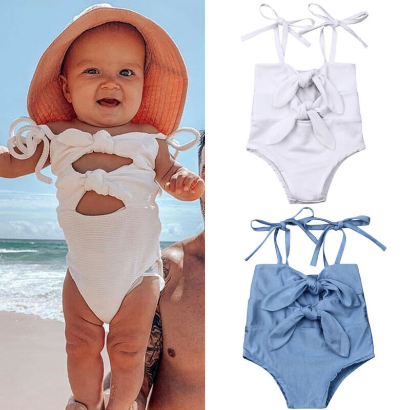 2019 Summer Swimsuit 0-3Y Newborn Kids Baby Girl Solid One Piece Swimwear Bow-knot Cute Swimsuit Bathing Suit Beachwear Tankini(China)