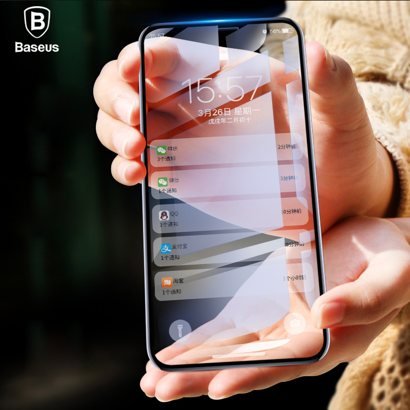 Baseus para iPhone X Protector de pantalla 0,2mm de vidrio templado 9 H para iPhone X 10 Ultra delgado 6D completa cobertura protectora frontal de vidrio