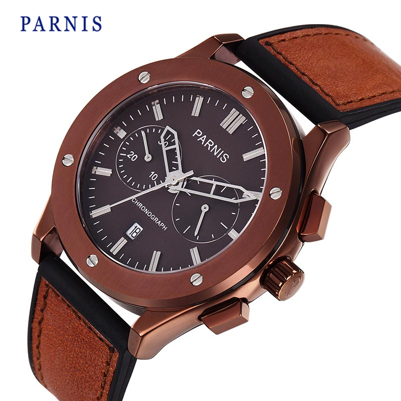 Top Brand Leather Chronograph Men's Quartz Watch 42mm Parnis Sapphire Calendar Japan OS21 Movement Quartz Wristwatch Men Hot seiko watch premier series sapphire chronograph quartz men s watch snde23p1
